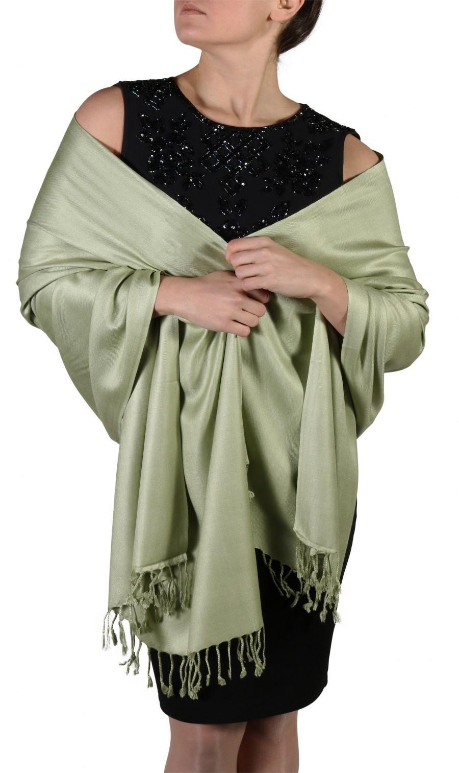 زفاف - Sage Green Pashmina, Shawls And Wraps, Green Wedding Shawl Bridal Cover Up, Pashmina Green Bridesmaid Shawl Sage Accessories, Gift For Women