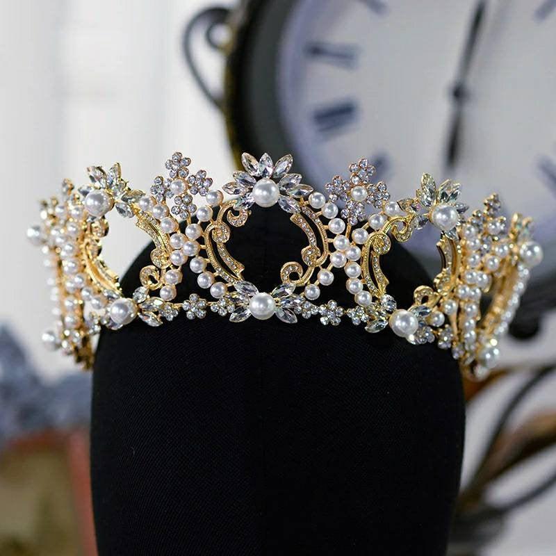 Hochzeit - Gold Pearl Bridal Crown/ Pearl Wedding Crown/ Tiaras & Crowns/ Gold Crown/ Bridal Headpiece/ Princess Tiara/ Brides Hair Accessories