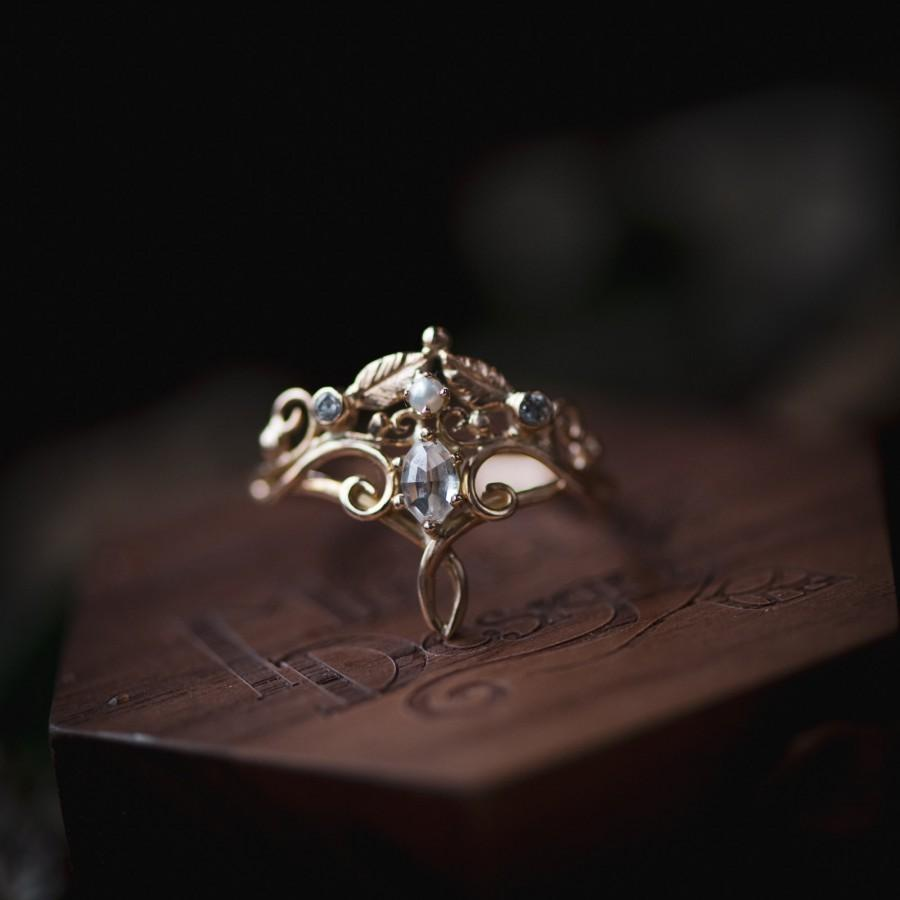 Wedding - The Dreamer II - Rose Cut Geometric Oval Elvish Tiara Engagement Ring, Vintage Inspired Scrollwork Leaves with Pearl and Diamond 14k Gold