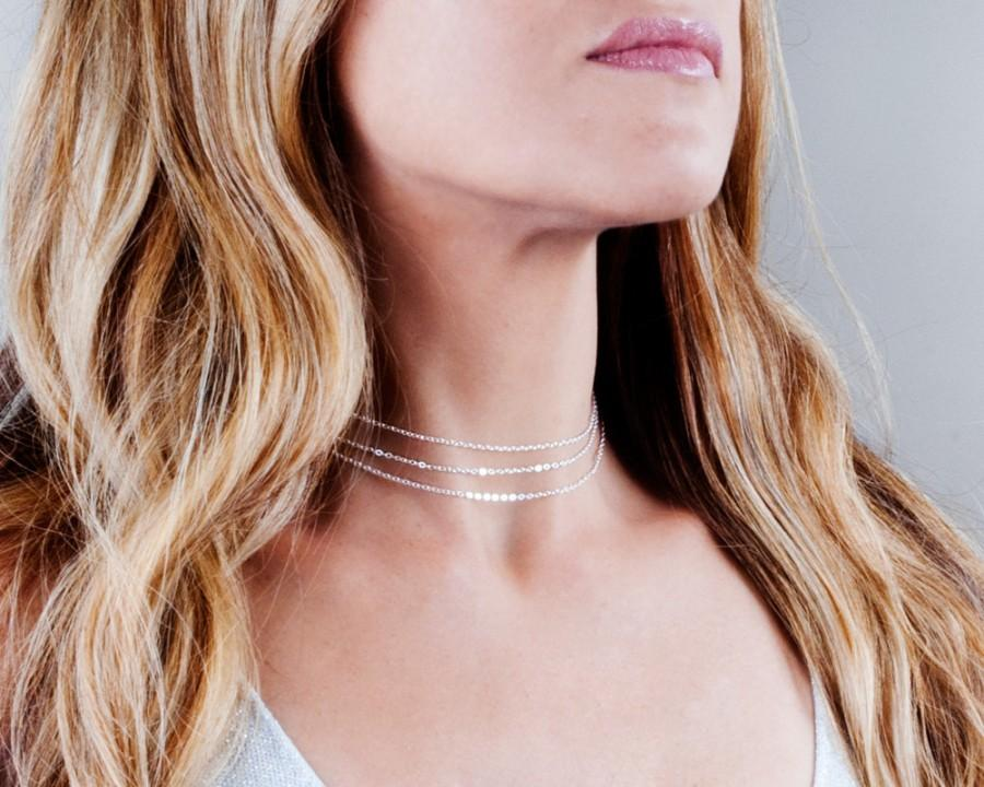 Hochzeit - Dainty Choker Necklace, Sterling Silver Choker, Layered Choker, Multi Layer Necklace, Choker Collar Necklace, Simple Necklace, NX50014-S