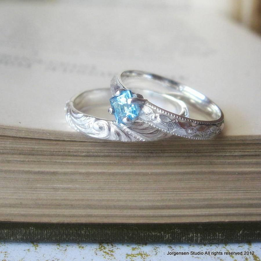 Wedding - Promise Ring Square Princess Cut Blue Topaz Engagement Ring or Stacking Ring Blue Gemstone Solitaire Ring