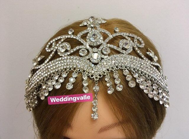 زفاف - Victorian bridal headband, wedding headpiece, rhinestone crown, crystals headpiece, princess tiara, full bridal crown, prom
