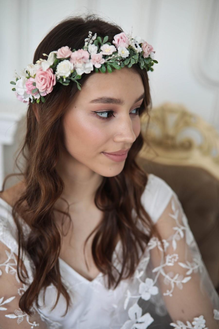 زفاف - Flower Crown for Romantic Bride Hairstyle. White & Pink Flowers Boho Wreath. Wedding flower hair piece from rose, greenery. Bridal Accessory