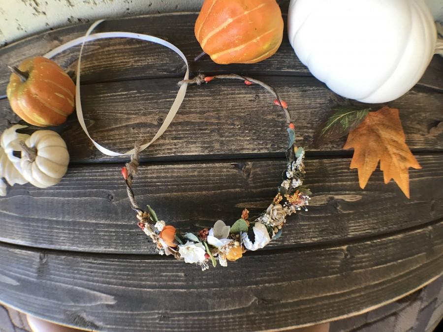 Mariage - Burnt orange Flower Crown, Flower Crown- Flower Garland ,Wedding Bridal Flower Crown, Flower Girl