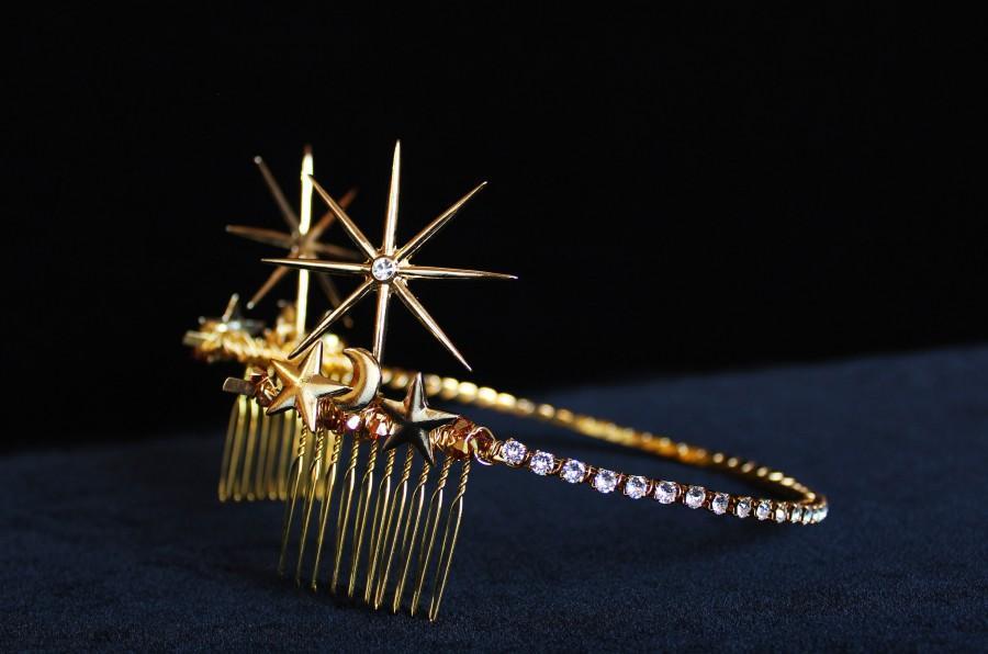 زفاف - Gold Swarovski Celestial Star Tiara 1920s Starburst hair piece Art Deco Bridal Back Tiara Crystal Wedding Headpiece Celestial Wedding Dress