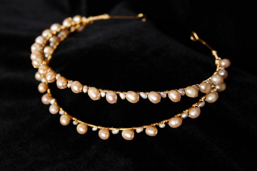 Hochzeit - Double Freshwater Pearl Tiara Gold Bridal headband pearl Wedding Crown Goddess Bridal headpiece Pearl hair piece for wedding dress