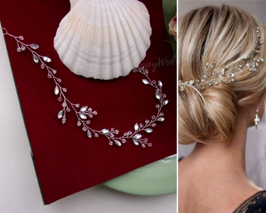 Mariage - Crystals and rhinestones bridal hair piece Sparkling bridal hair vine Rhinestone wedding headband V0003