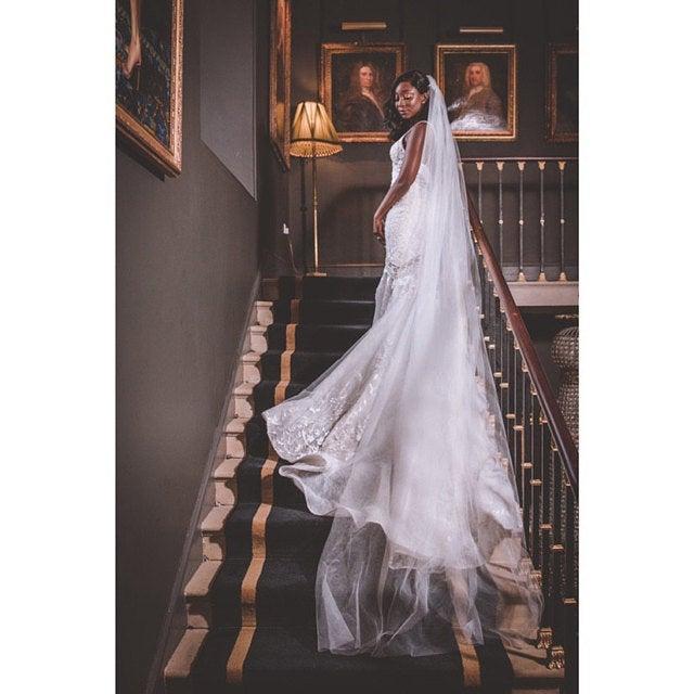 Свадьба - Cathedral Wedding Bridal Veil 108 inches white, ivory, Sheer simple Wedding veil Long bridal Veil cathedral length veil  cut edge veil gift