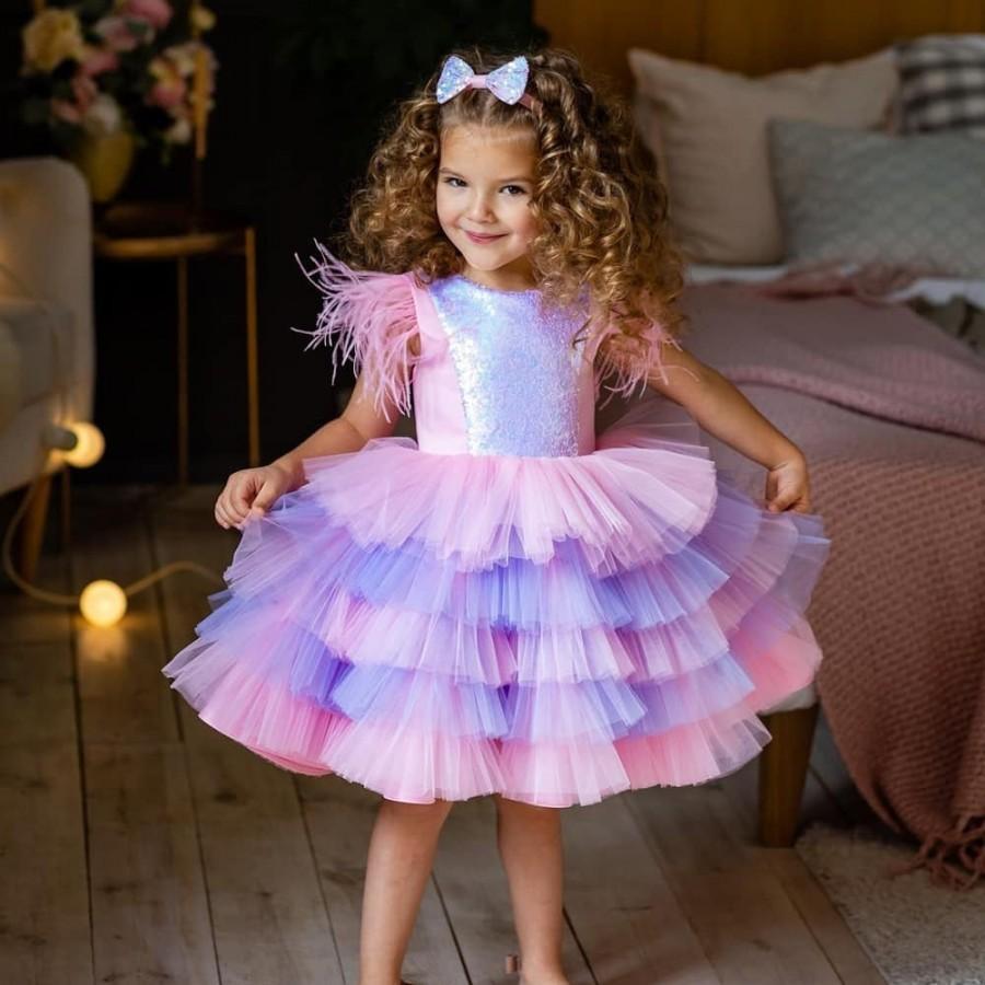 Свадьба - tulle flower girl dress - sequin flower girl dress - tutu dress toddler - birthday girl dress -pageant dress - festive dress - fancy dress