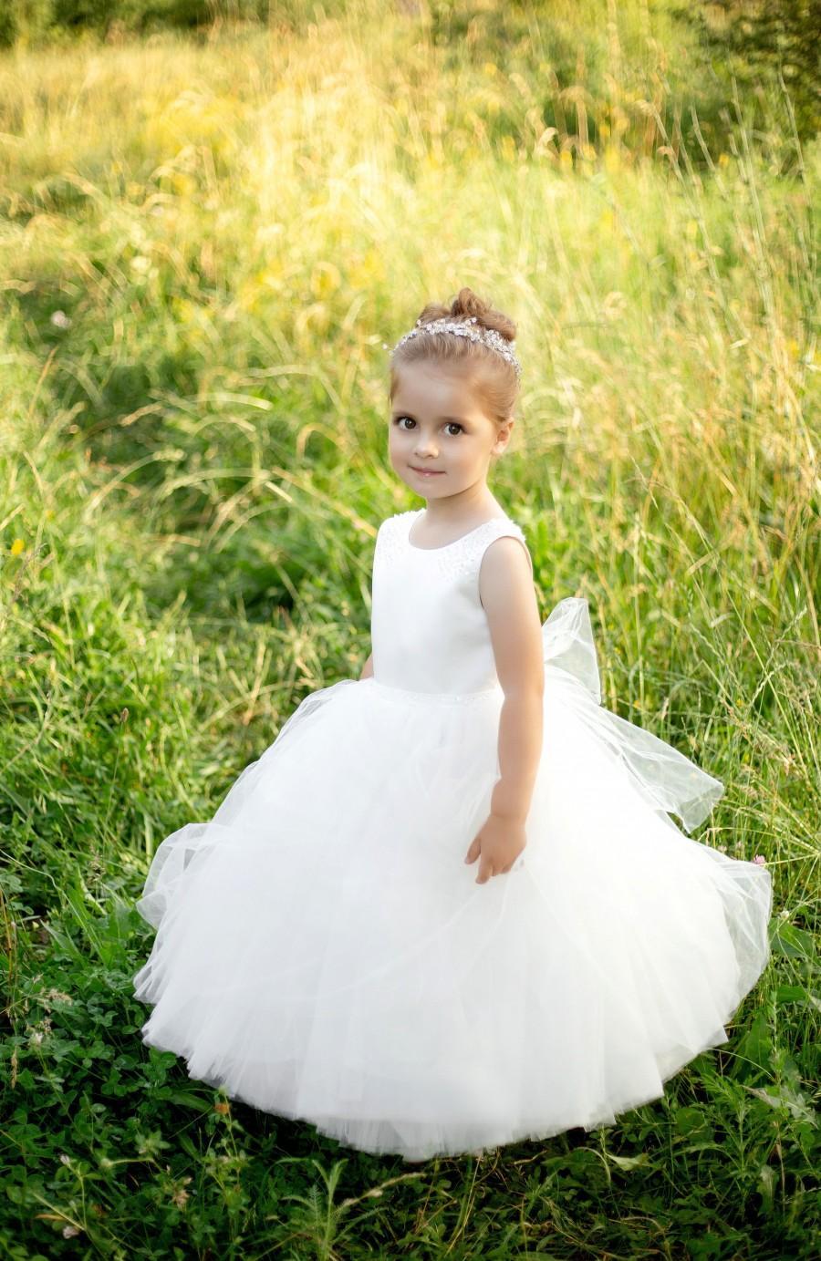 Mariage - Long dress flower girl, flower girl dress, lace flower girl dress, first communion dress, ivory flower girl dress, classic flower girl dress