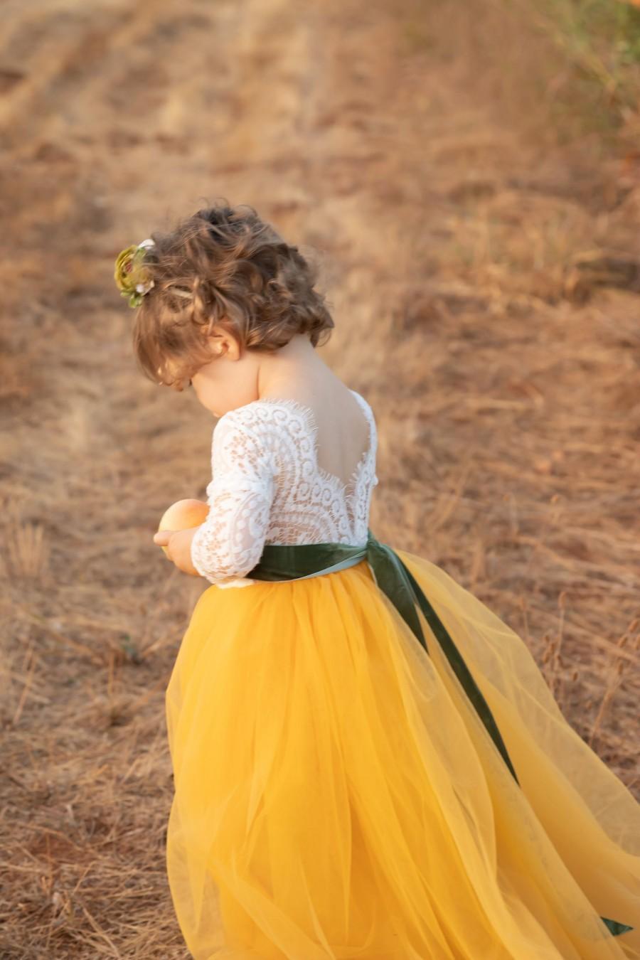 Hochzeit - Mustard Yellow Flower Girl Dress