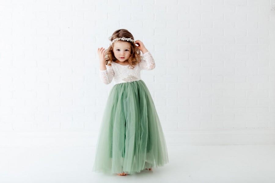 زفاف - White Lace Flower Girl Dress, Dusty Sage Green Long Sleeve Wedding dress, Fern Floor Length Dress