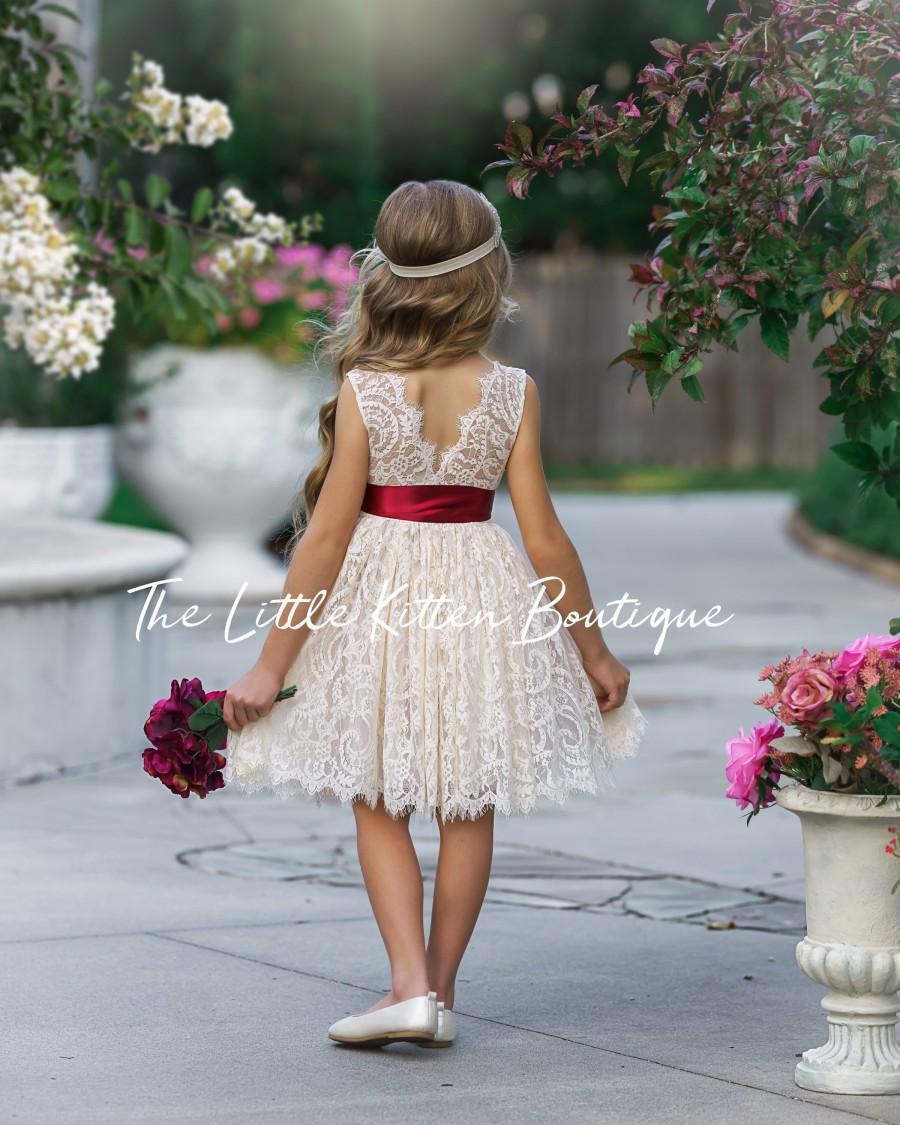 Hochzeit - Flower girl dress, Bohemian Flower Girl Dress, rustic flower girl dress, boho flower girl dress, lace flower girl dress, boho wedding dress