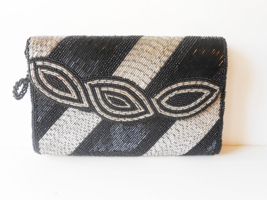 Hochzeit - Black Silver Beaded Clutch Evening Bag, Glamorous Beaded Cocktail After Five Bag, Special Occasion Bag, EB-0121