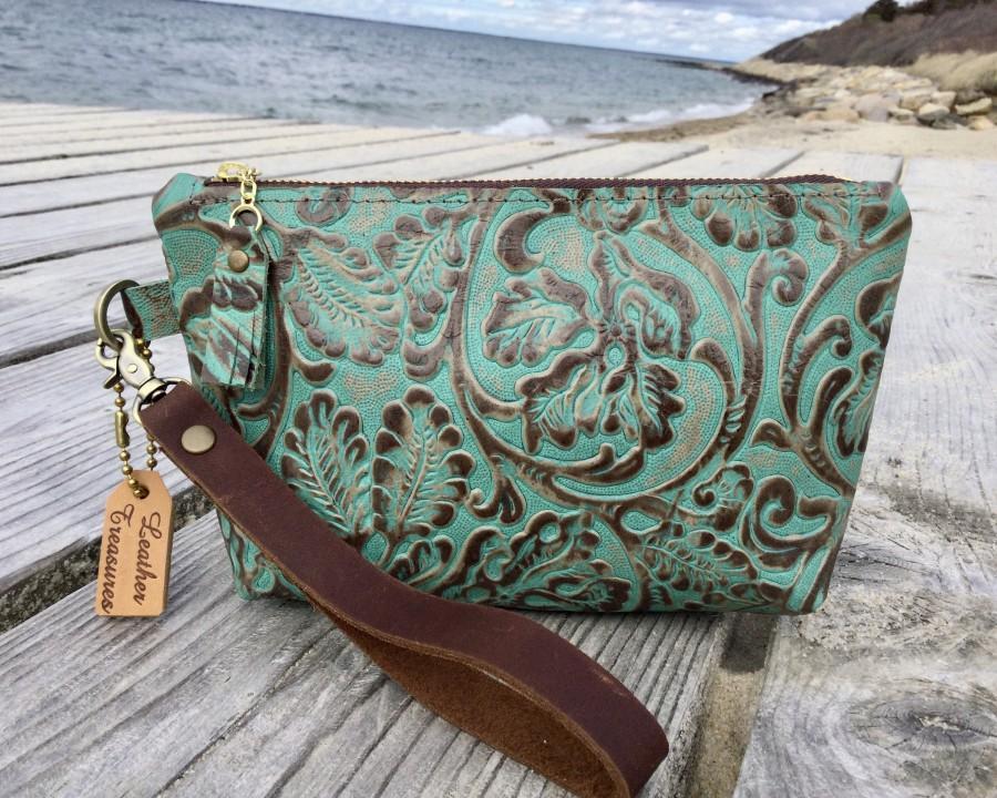 Wedding - Leather Wristlet with Embossed/Vintage Tooled Design