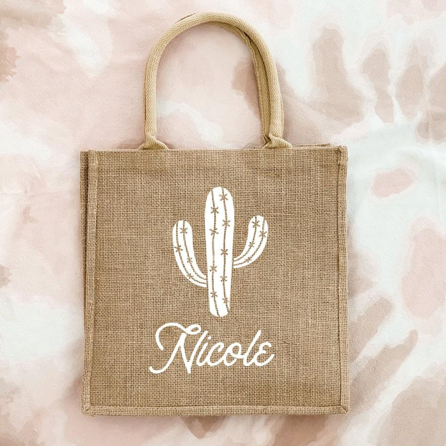 Wedding - Desert Cactus Tote Bag Personalized Cactus Bags for Bachelorette Gifts Bag Bridesmaid Tote Cactus Theme Scottsdale Palm Springs (EB3259DST)