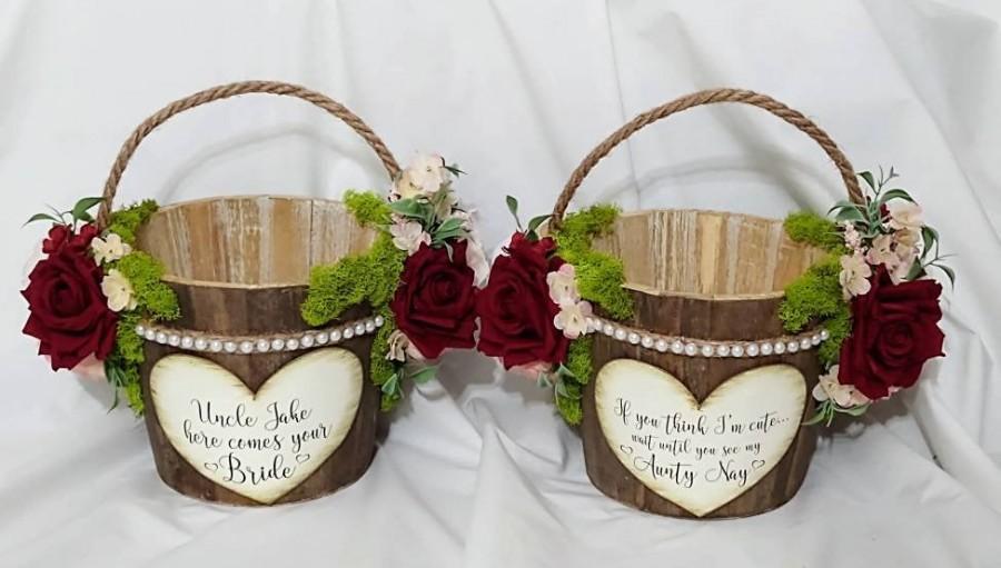 زفاف - Rustic Flower Girl Basket/flower girl basket