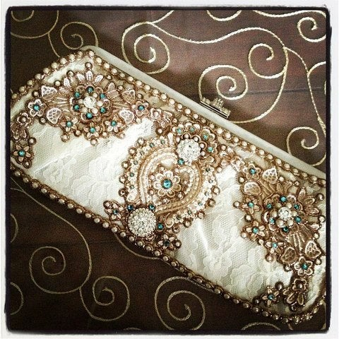 Свадьба - Bridal Satin Wedding Clutch in Ivory with Robin's Egg Blue Crystals (Choose any crystal color)