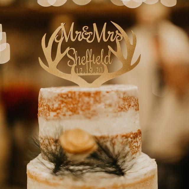 Hochzeit - Rustic Wedding Cake Topper