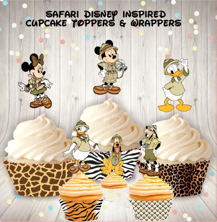Wedding - Safari Disney Cupcake Toppers & Wrappers (Set of 12)