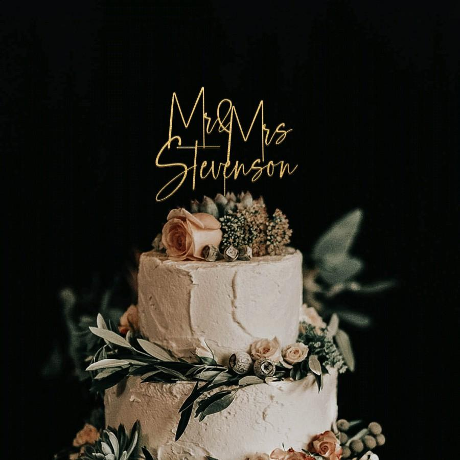 Mariage - Gold Cake topper for Wedding, Personalized cake topper, Rustic wedding cake topper, Custom Mr Mrs cake topper, Anniversary Cake toppers