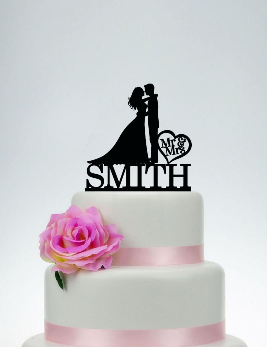 Hochzeit - Mr and Mrs Cake Topper With Last Name,Wedding Cake Topper,Custom Cake Topper,Unique Cake Topper,Bride and groom Cake Topper C070