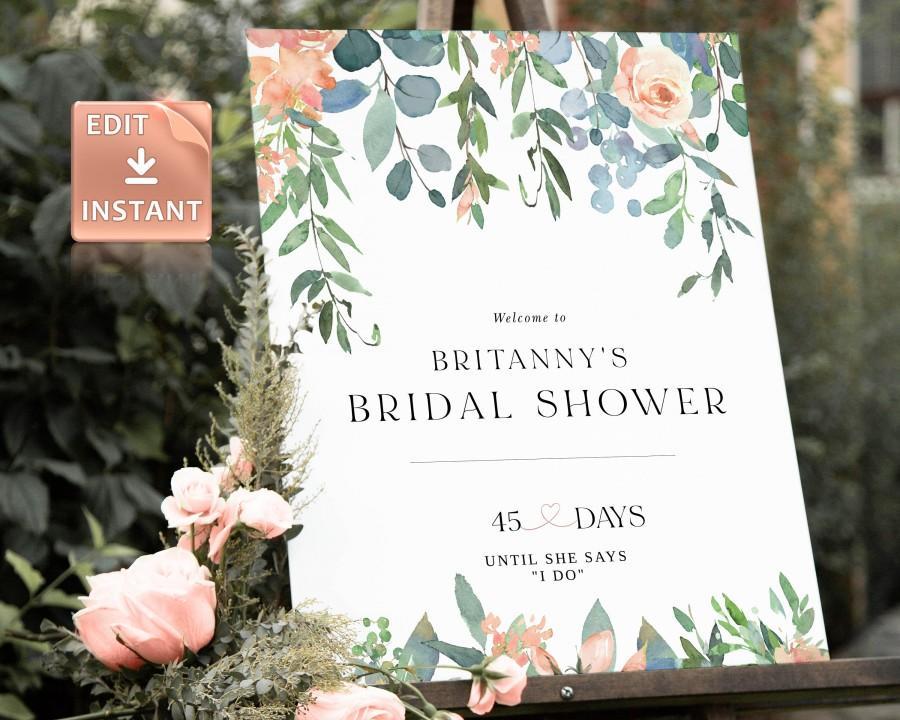 زفاف - TIFF - Bridal Shower Welcome Sign, Instant Download, Blush Welcome Sign, Large Bridal Welcome Signs, Bridal Shower Poster