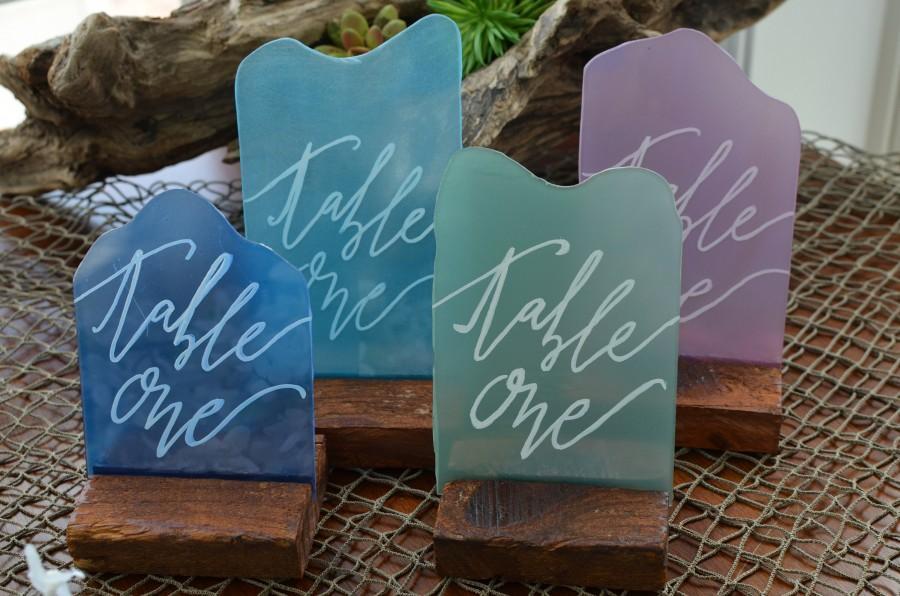 زفاف - Acrylic Sea Glass Inspired Table Numbers for Weddings, Showers, Anniversary