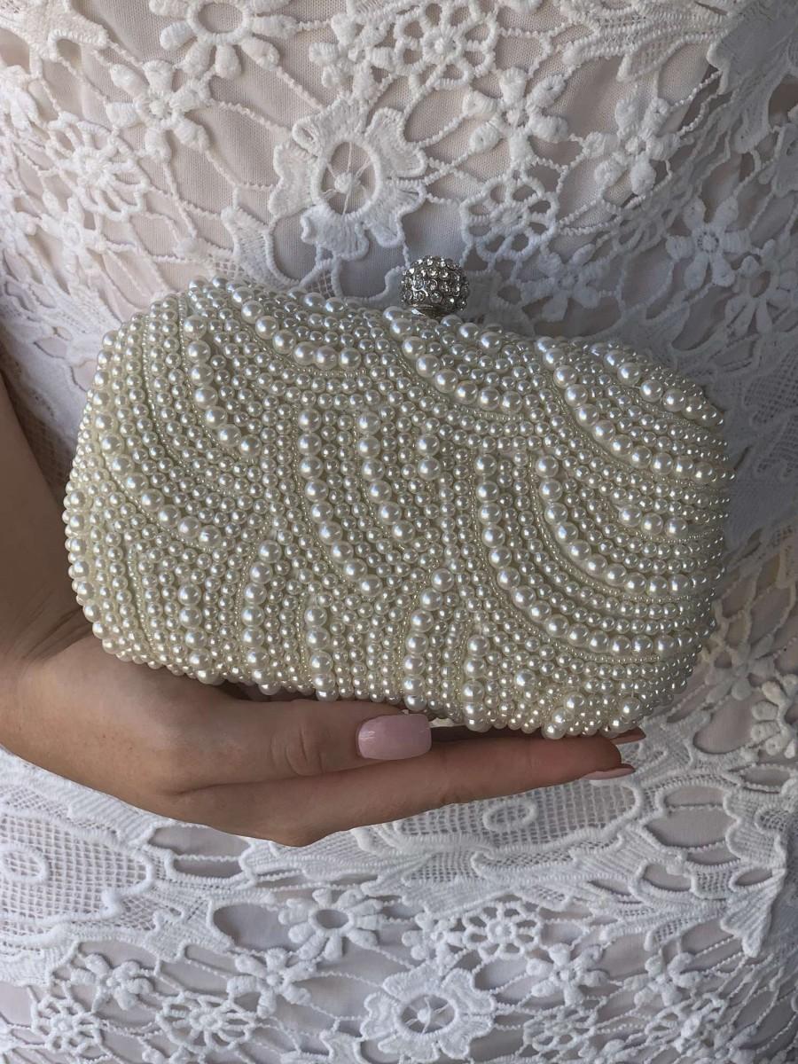 زفاف - Double-sided Ivory Beaded Pearl Wedding Clutch