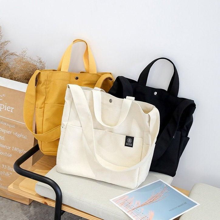 Mariage - Daily Shoulder Bag, Tote Bag, Pocket Canvas Bag, Casual Crossbody Bag, Canvas Handbag, Messenger Bag, Women Bag