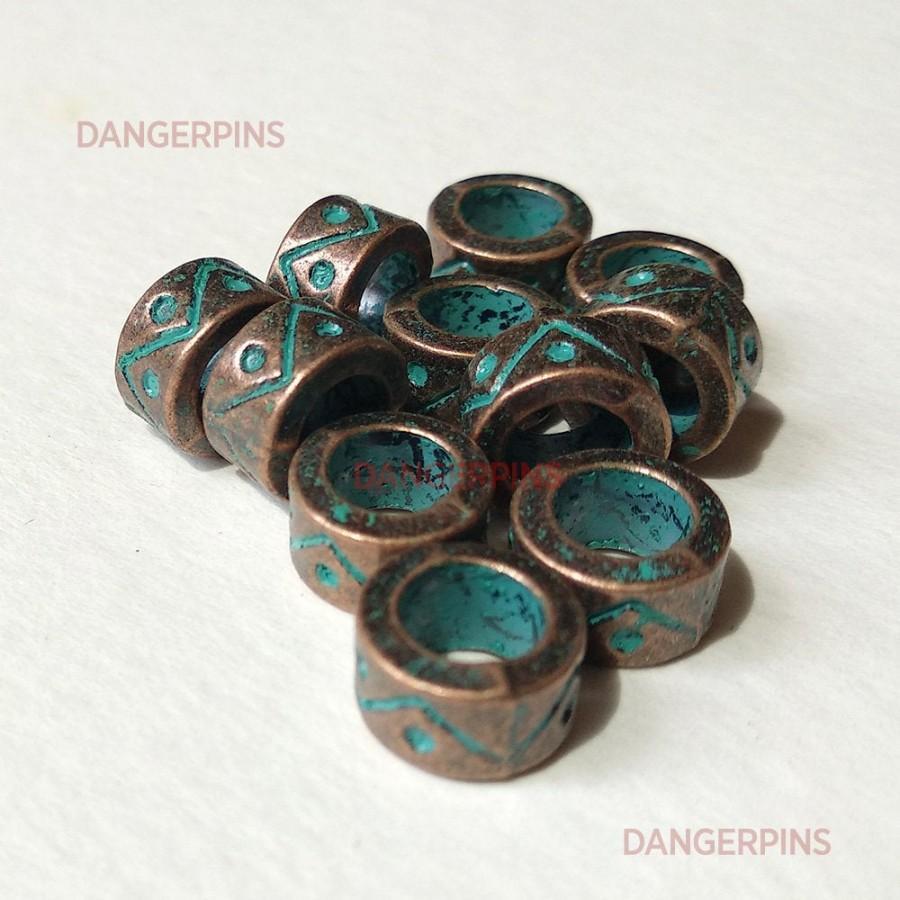 Hochzeit - set of 10 aged Copper look viking / celtic hair beard braid beads - dreadlocks charms