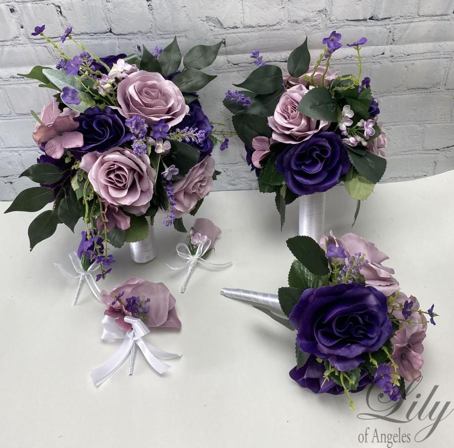 Mariage - Wedding Bouquet, Bridal Bouquet, Bridesmaid Bouquet, 17 PIECE PACKAGE, Silk Flower, Wedding Flower, Purple, Dusty Lavender, Lily of Angeles