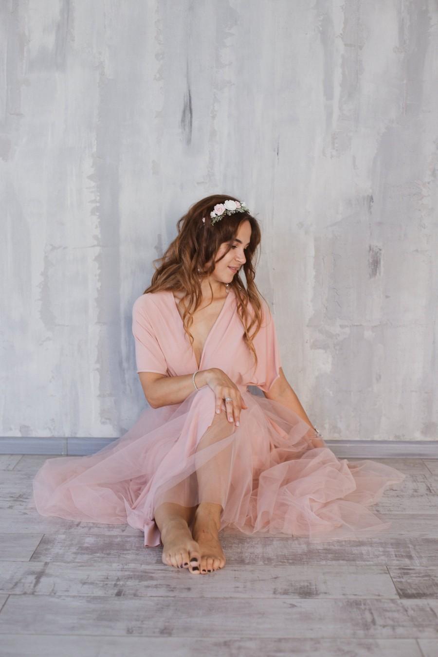 Mariage - Blush Bridesmaid dress, blush infinity dress, bridesmaid dress, convertible dress, pale pink maxi dress, bridesmaids, multiway dress