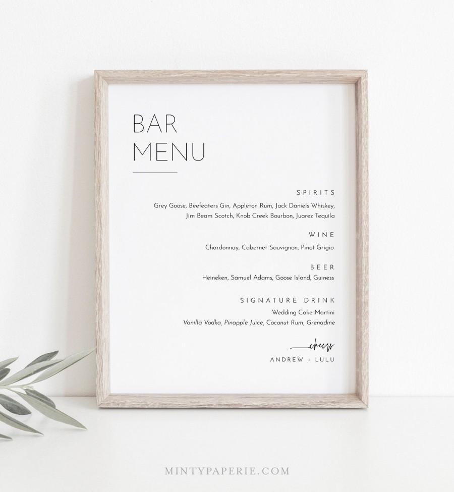 Mariage - Minimalist Bar Menu Sign, Printable Wedding Bar Menu, Alcohol Drinks Menu, 100% Editable Template, Instant Download, Templett #094-101BM