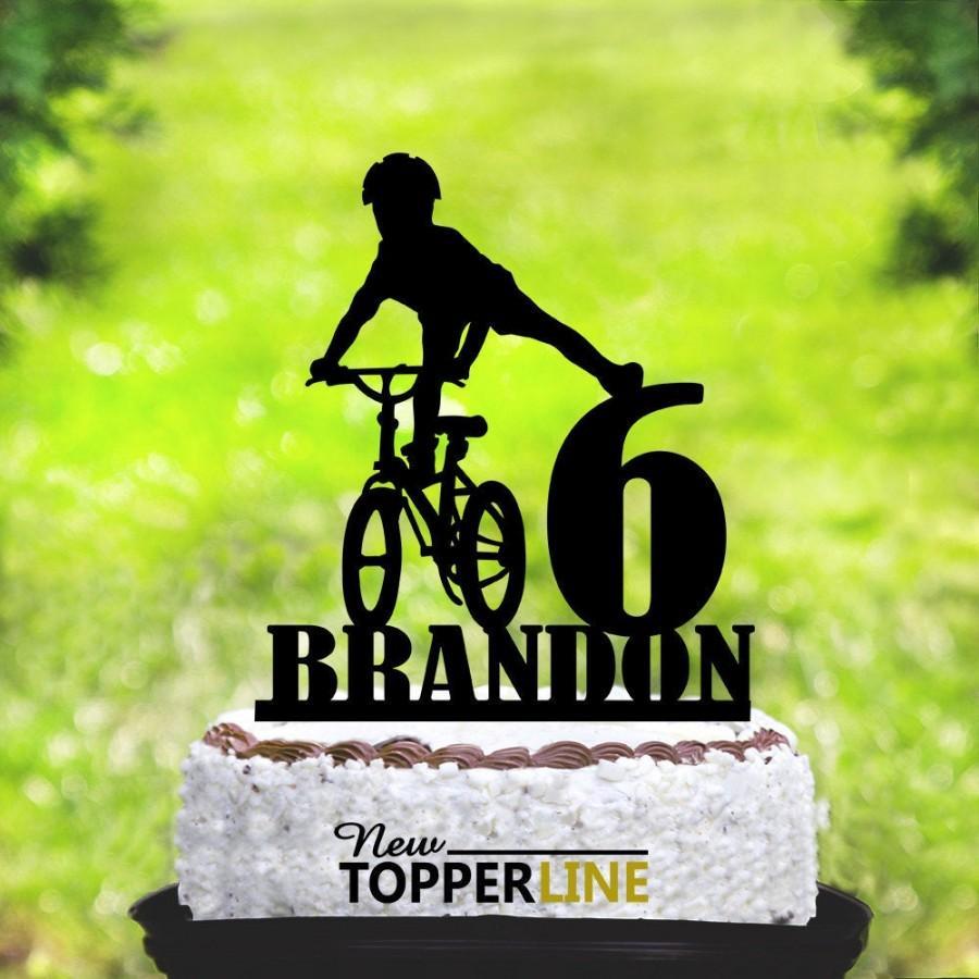Mariage - Kids Bike Cake Topper,Personalised Mountain Biking Cake Topper,Kids birthday Cake Topper,Kids Cake Topper,Bike Birthday Party (2172)