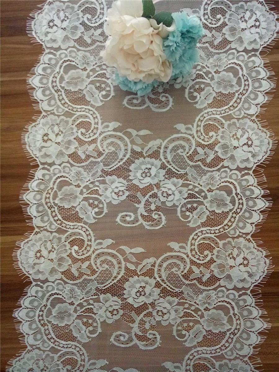 Mariage - Wedding table runner, Lace table runner , 17 inches wide, Wedding Decor, Overlay, Tabletop Decor, Centerpiece,  table runners for event