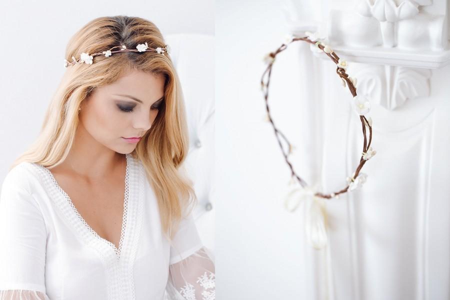 Mariage - Flower Crown Wedding, Bridal headpiece, Hair Wreath Hairband Tiara,Bridal hair flowers,Fairy Crown,Wedding Hair Accessories Headband Halo