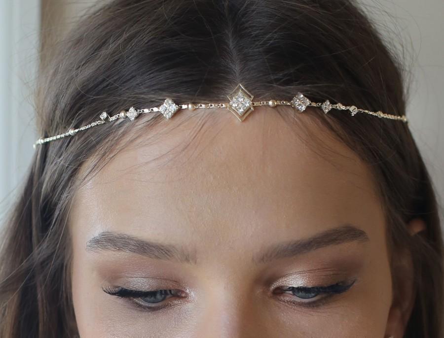 Mariage - Boho Bridal Headband, wedding hair accessories, bride Headband, Boho Head Piece, gold rhinestone forehead , brides headpiece