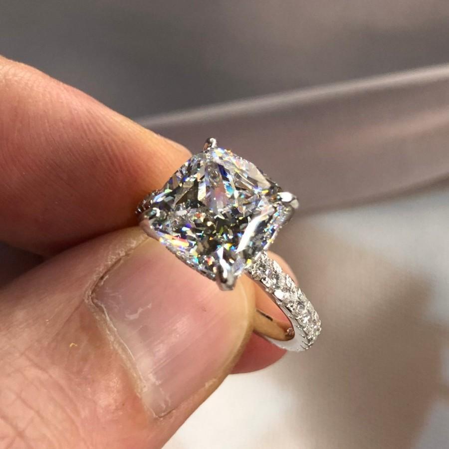Mariage - 5 Carat Cushion Created Diamond 925 Sterling Silver Engagement Wedding Ring