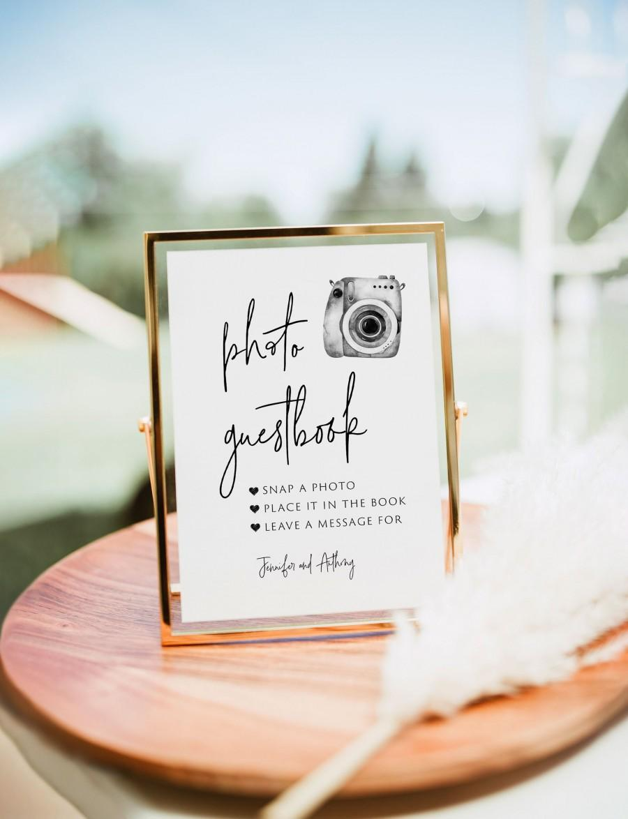 Wedding - Photo Guest Book Sign, Wedding Photo Guestbook Sign, Photo Guestbook Printable, Photo GuestBook Sign Template,Polaroid Wedding Sign,Templett