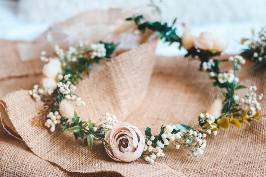 Hochzeit - Whimsical Ivy Bridal Crown with Cream Peonies & Gypsohila (Baby's Breath) -Wedding Crown