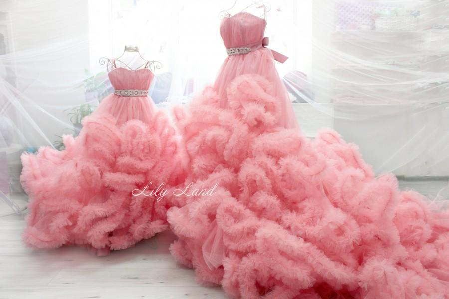 Mariage - Pink Mommy and Me dresses set 2 Dresses maternity gown Flower girl Princess Dress Pregnancy dress Pregnancy mother daughter Matching dresses