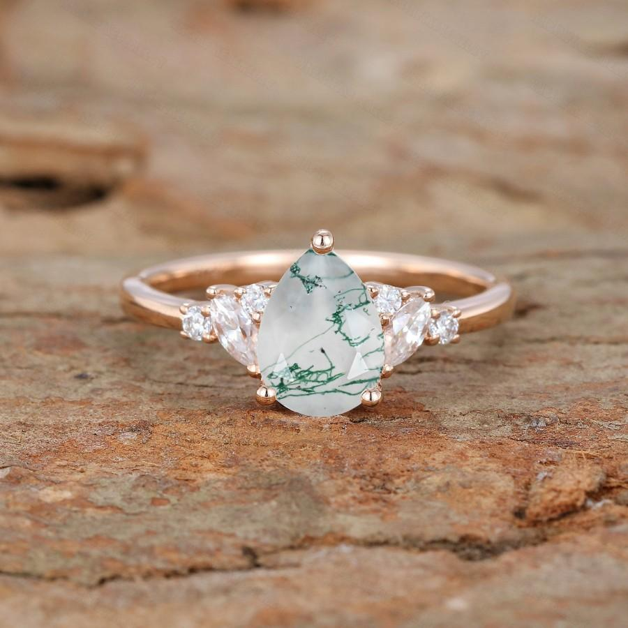 Mariage - Unique Pear shaped Moss Agate Engagement Ring Vintage Rose gold Engagement Ring Marquise diamond Wedding Anniversary promise Gift for women
