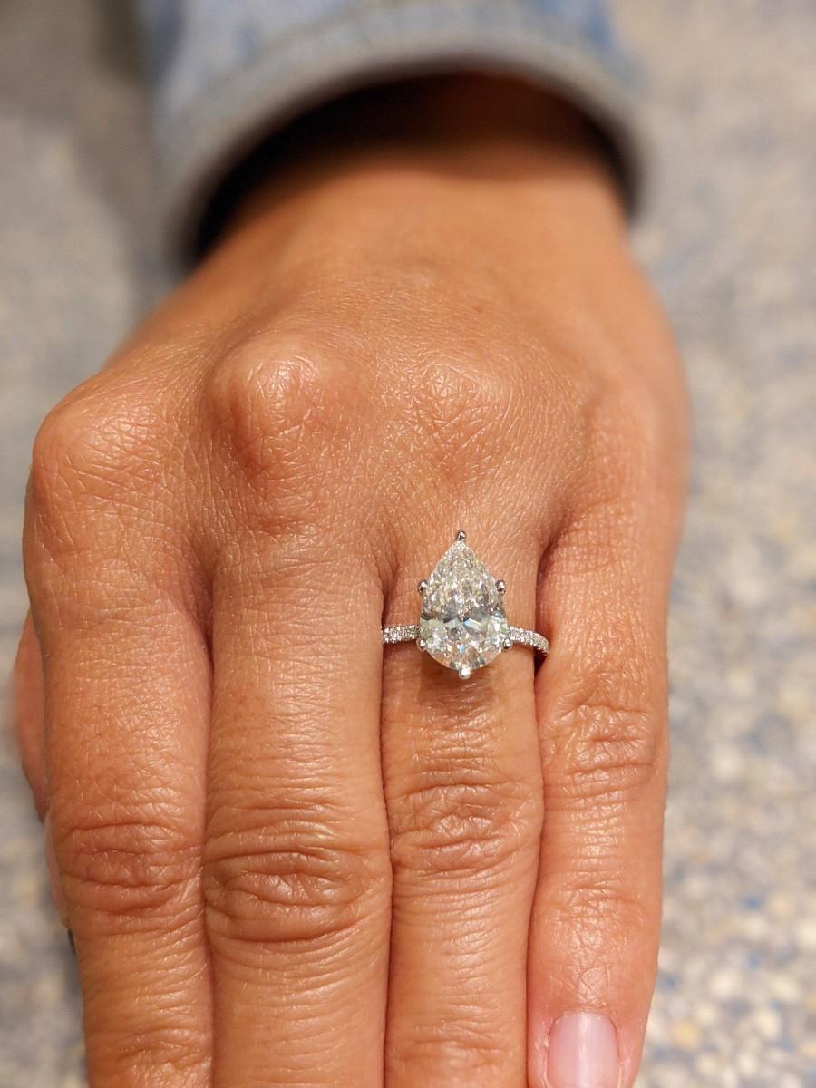 Mariage - 14K Solid Gold Engagement Ring / 3CT Pear Moissanite Diamond Wedding Ring/Moissanite Engagement Ring/Stack Ring/Promise ring/Rose gold