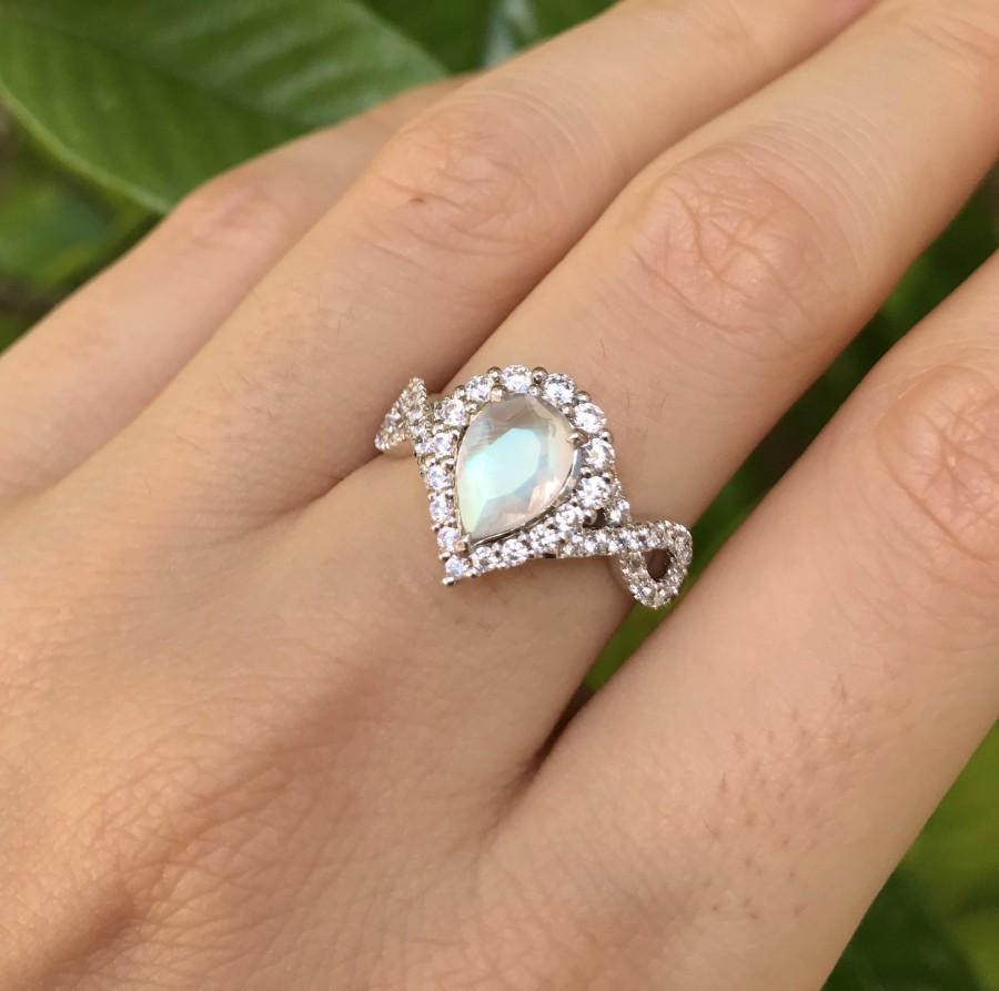 زفاف - Teardrop Moonstone Infinity Engagement Ring- Genuine Rainbow Moonstone Promise Split Shank Ring- Moonstone Pear Halo Anniversary Ring