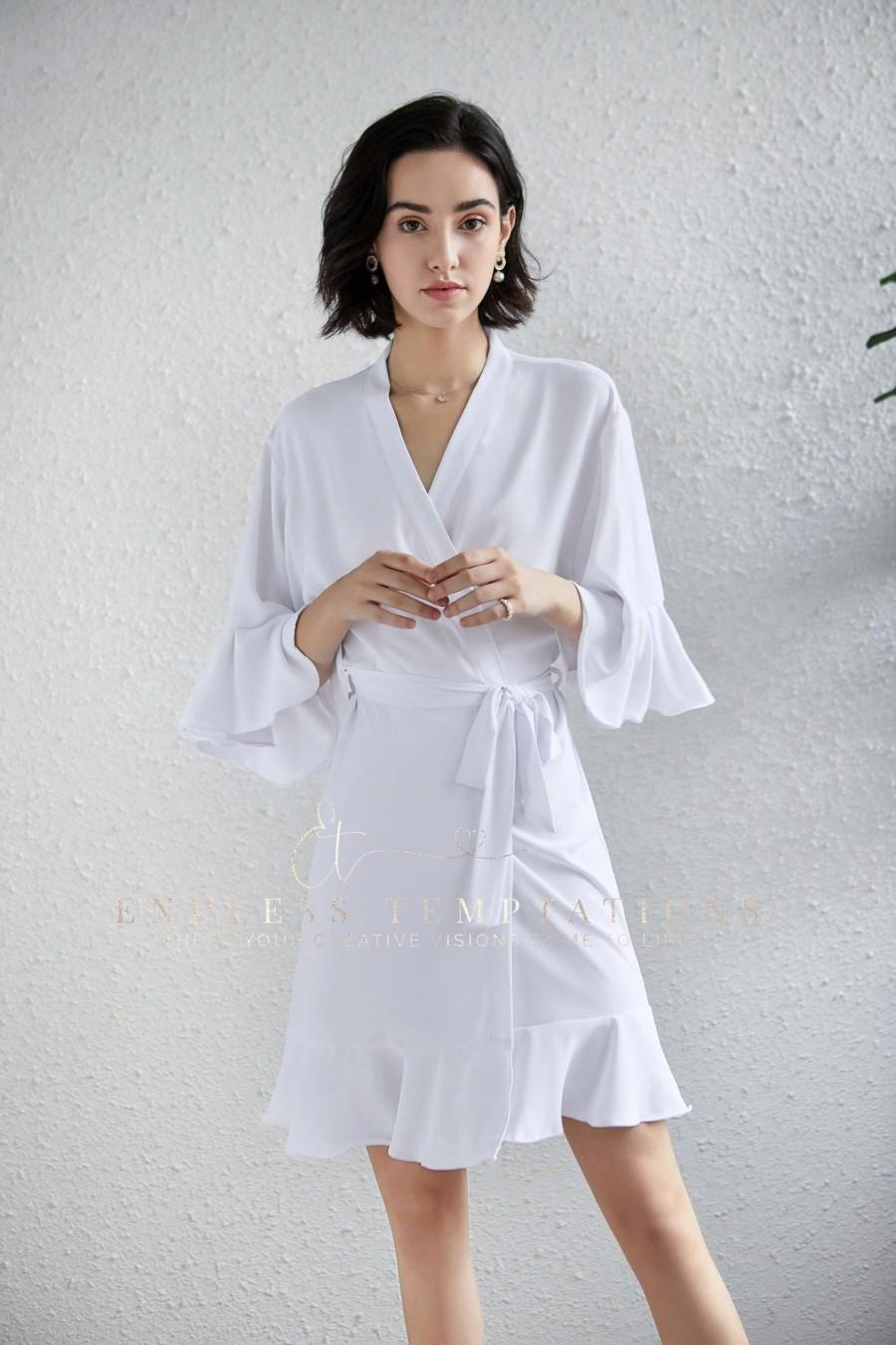 Wedding - PLAIN WHITE Ruffle Lace Robe, Bridesmaid Gifts, Chiffon, Robes, Lace Robes, Bridal Robe, Satin Robes, Flower Girl Robes, Bride Robe, Gifts