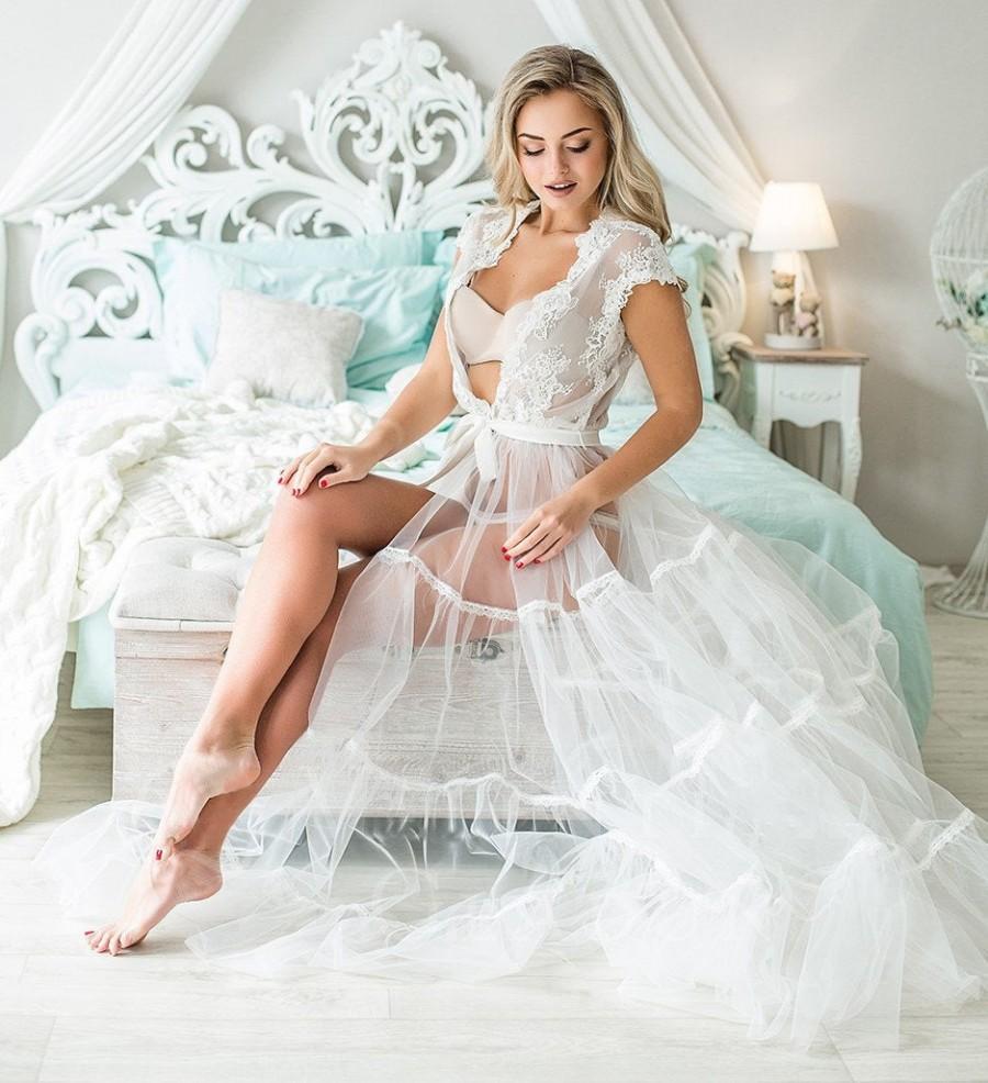 Wedding - Long robe,Boudoir dress,Wedding robes,Bridal robes,Wedding lingerie bridal,White robe with lace,Satin bridal robe,Plus size lingerie bridal