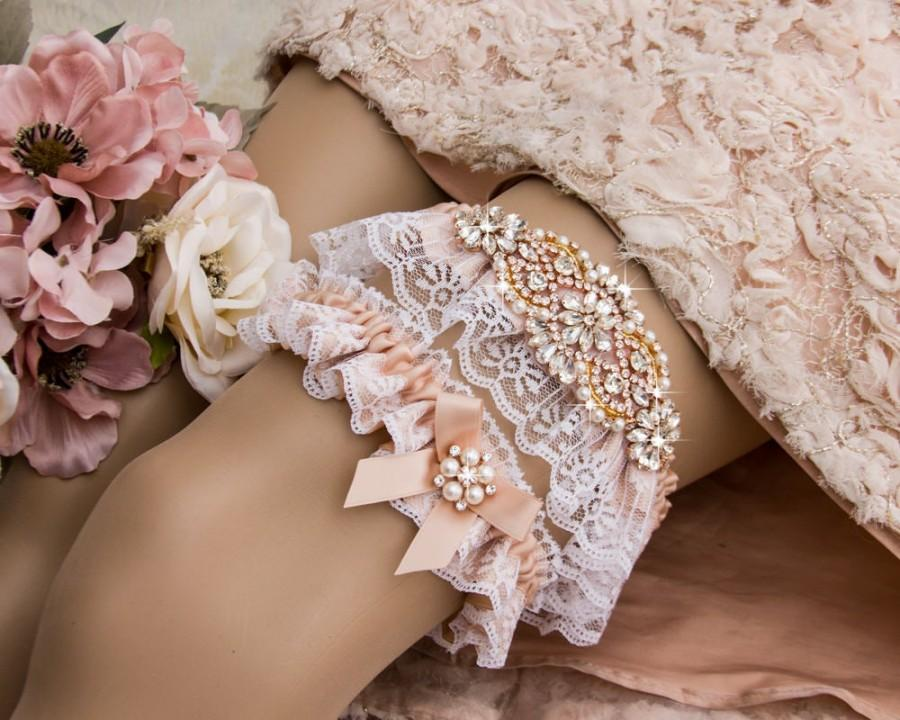 Wedding - Blush Wedding Garter Set Rose Gold Wedding Garter Blush Bridal Garter Set Rhinestone Garter White Lace garter Bridal Shower Gift