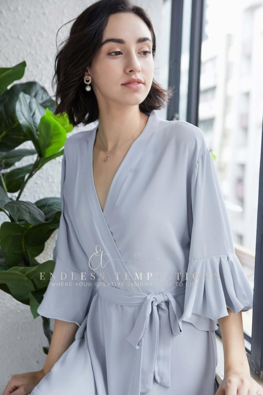 Wedding - PLAIN DUSTY BLUE Ruffle Lace Robe, Bridesmaid Gifts, Chiffon, Robes, Lace Robes, Bridal Robe, Satin Robes, Flower Girl Robes, Bride, Gifts