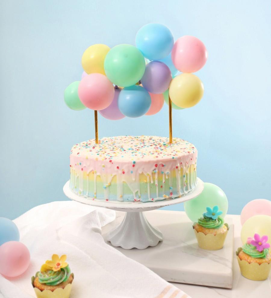 Свадьба - Pastel Rainbow Mini Balloon Cake Topper Kit
